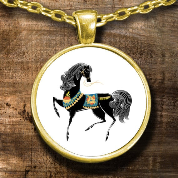 black gold plated horse pendant necklace jewelry / equestrian / round necklace face with chain and white background