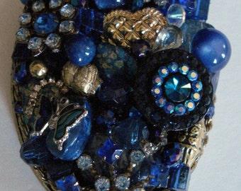 Jeweled Mirror Hand Held Vanity Mirror OOAK - Blue Theme