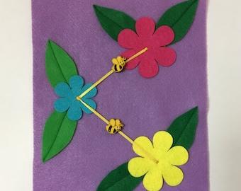 Bumblebee Flower Quiet Book Page; Bumblebee, Flowers, Ribbon, Quiet book Toddler, Gifts for Kids, Activities for Kids, ThePinkPenguinShop
