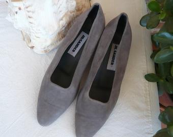 Vintage Jil Sander Grey Suede Shoes, Women Sz 37