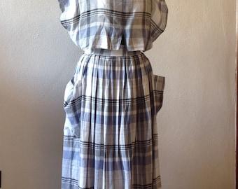 90s vintage dress. White dress and Blue plaid. Vintage dress. Original dress. Vintage dress