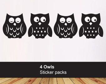 Pack of 4 Owl stickers - kids bedroom playroom - kids vinyl owl decals - Nursery wall decals - Car laptop wall