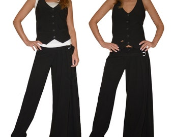 Black Asymmetric Boho Maxi Plus Size Cotton Women Suit