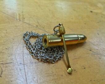 Brass Bullet with Hidden Scoop Men's Necklace