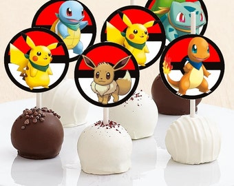 Pokemon Cake Pop Toppers - Instant Download - Pokemon Cake Toppers - Pokemon Party - Digital Download - Pokemon - Squirtle - Pikachu - Eevee