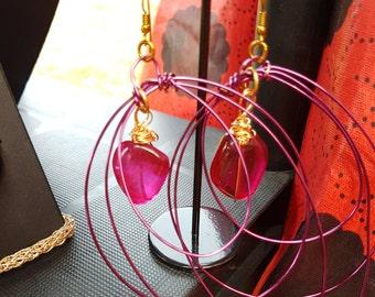 Cherry quartz copper earrings