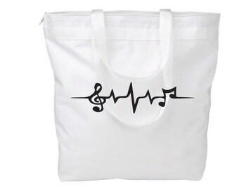 Music Note Canvas Bag Heartbeat Wave Teacher Gift Music Student Gift Recital Gift Screen print Book bag Purse