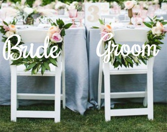Wedding Decor.Chair Signs. Bride and Groom Chair Signs.