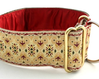 """Luxury Sighthound Collar. 'Tudor' Cream,red, green and gold 2"""" wide. Single loop. Greyhound,Wolfhound,Saluki,Borzoi,Galgo,Lurcher large dogs"""