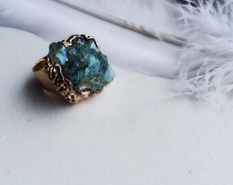 Siren Aglaope - Turquoise Sedona Stone Geode Statement Ring