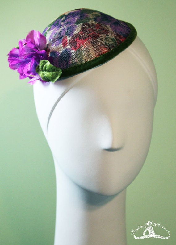 Flowered Fascinator - Purple & Red Flowers - Silk Flowers - OOAK