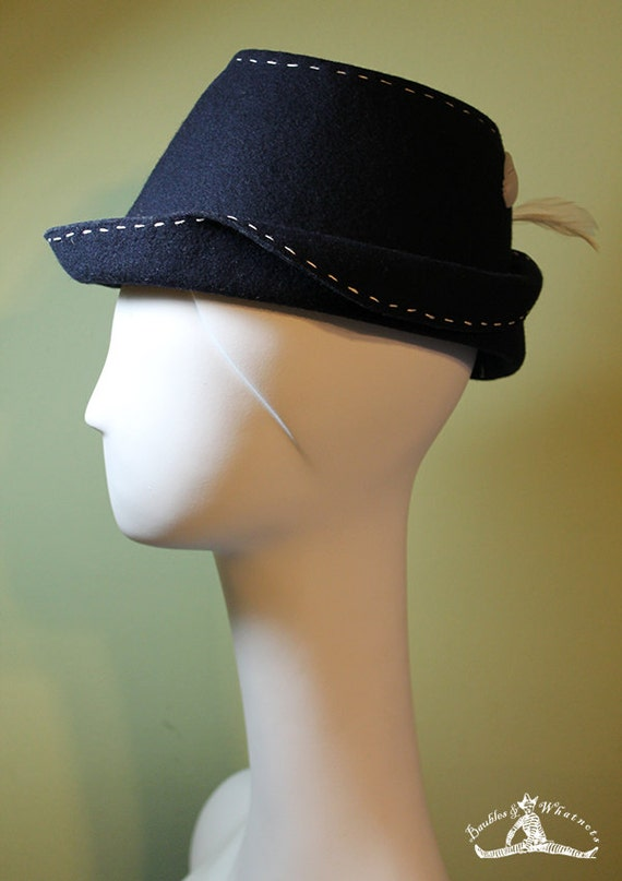 Women's Navy Blue Wool Fedora Hat - Unique Navy Blue Women's Fedora - 1940s Women's Navy Fedora - OOAK
