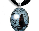 Long Haired Black Cat Necklace Blue Moon Handmade Jewelry Art Pendant Moonlight Zen Tree Branch Wiccan Boho Halloween Gift for Cat Lovers