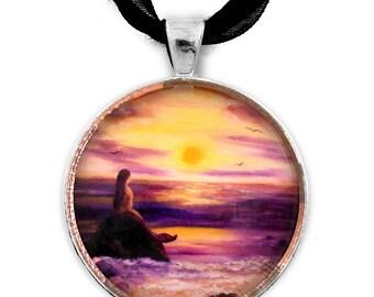 Mermaid Jewelry Purple Sunset Handmade Pendant Fantasy Necklace Seascape Ocean Boho Bohemian