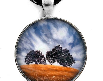 Stormy California Oak Trees Landscape Jewelry Handmade Pendant by Laura Milnor Iverson