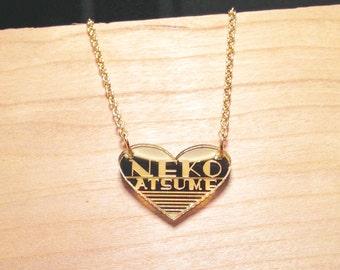 Neko Atsume Heart Gold Mirror Acrylic Necklace