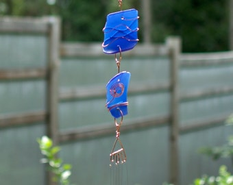 Sun Catcher Wind Chimes Cobalt Blue Sea Glass beach glass stained glass windchime