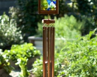 Kaleidoscope Sea Glass Copper Cedar Wind Chime, Windchimes