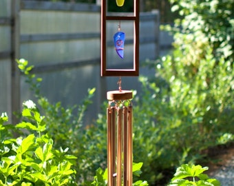 Wind Chime Sea Glass Sun Catcher Large Copper Chimes beach glass stained glass windchimes