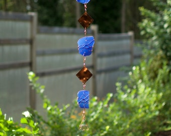 Wind Chime Blue Beach Glass Copper Windchime Stained Glass Windchimes