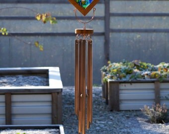 Wind Chimes Sea Glass Sun Catcher Large Copper Chimes, beach glass stained glass windchime