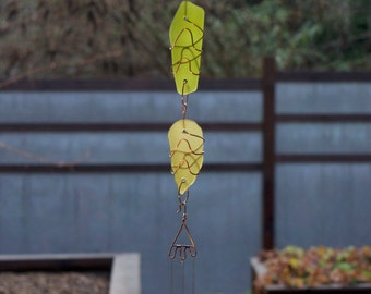 Wind Chime Sun Catcher Glass with Copper and Brass Chimes, sea glass, beach glass, stained glass windchimes