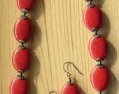 Red Magnesite with Matrix Necklace and Earrings