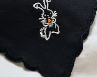 Hand Embroidered Bunny Women's Handkerchief - Unusual Black Scalloped Edge Hankie Bunny with Carrot