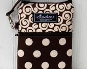 Brown Swirl & Dot 2 Pocket Padded Gadget- iPhone, iPhone 6 Plus,  iPod, cellphone, camera, Samsung