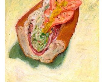 HOAGIE HALF 2 - archival print of original pastel drawing - food art by Mike Geno