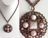 Vintage Copper Pendant Necklace Filigree Medallion, Metallic Flecks in White Grey Rose Gold Marbled Cabochon Dots and Square, Copper Chain