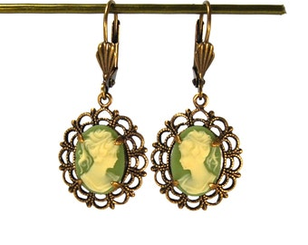 Vintage Inspired Earrings with Lace Filigree Framed Classic Green Cameos in Antiqued Brass Simple Design Prong Set