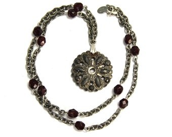 "Upcycled Necklace with Circa 1830 Georgian Cut Steel Button Pendant and Faceted Garnet Colored Czech Glass Beads  ""Altered Heirlooms"""