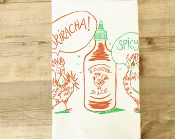 Sriracha Tea towel Spicy Rooster Sauce Dish Towel