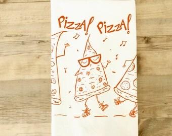 Pizza Dudes Tea Towel dish towel  Orange Striped dancing high top sneakers kitchen gift