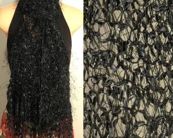 Hand Knit Scarf Eyelash Hand Painted Ribbon Black
