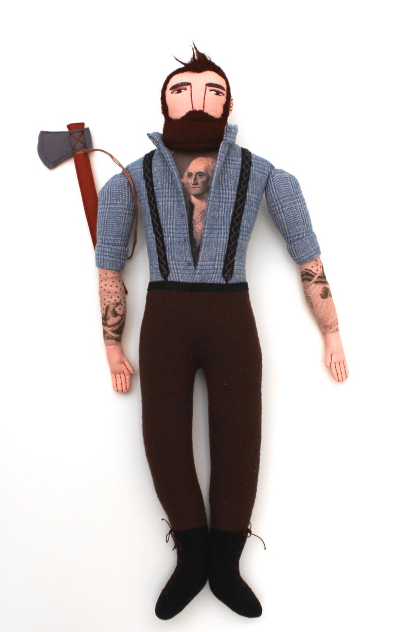 Lumberjack Tattooed Man Doll Plush Beard