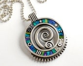 Sterling silver pendant necklace with blue green iridescent mosaic inlay polymer clay sterling bead ball chain
