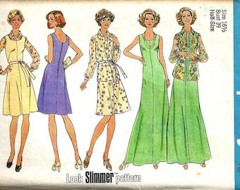 Simplicity 6999 Misses Long Dress/Jumper, Jacket 70s Vintage Sewing Pattern Half Size 16 1/2 Bust 39 Uncut