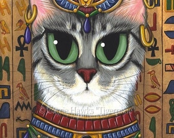 Egyptian Cat Bast Art Cat Painting Egypt Bastet Cat Goddess Fantasy Cat Art Limited Edition Canvas Print 11x14 Art For Cat Lover