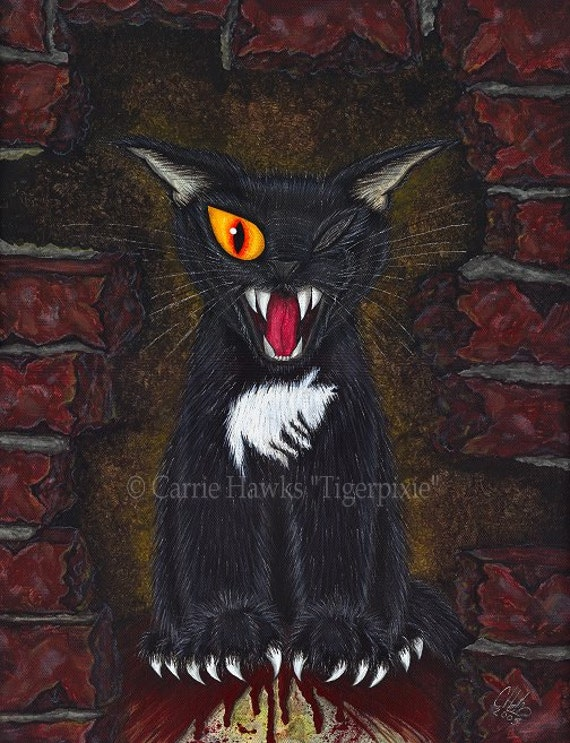 SALE Black Cat Art Evil Black Cat Painting Edgar Allan Poe