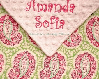 Baby Toddler Girl Blanket - Personalized Belle Henna and Minky Blanket , LIMITED but still available 30x36 , Name and Embroidery Optional