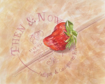Strawberry painting, original watercolor, berry artwork, still life, cottage decor, vintage style art