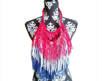 Red White and Blue, USA, Haitian Flag, Fringe Necklace, Summer Fashion, Boat, Memorial Day, July 4th, BBQ Outfit,