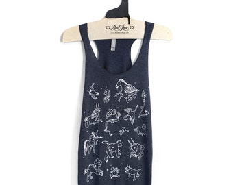 M,L,XL -Tri-Blend Navy Racerback Tank with Constellation Animals Screen Print