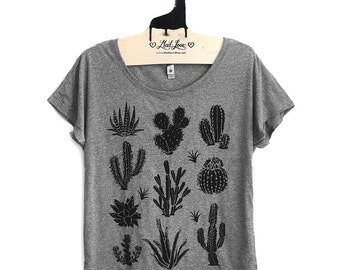 Large-  Tri-Blend Gray Dolman Tee with Cactus Screen Print