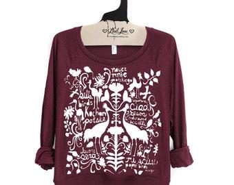 S- Maroon Tri-Blend Sweatshirt Folk Art Print