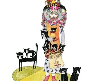 A4 + A5 Print: Crazy Cat Lady with Nine Cats [Signed Giclee Art Print A4 and A5]