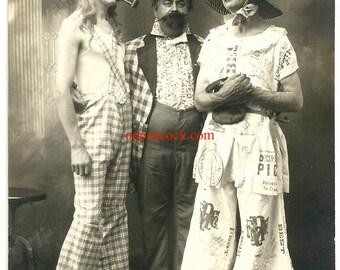 Crossdress theatrical flour bag fabric gingham hat actor theater antique photo pipe oddity