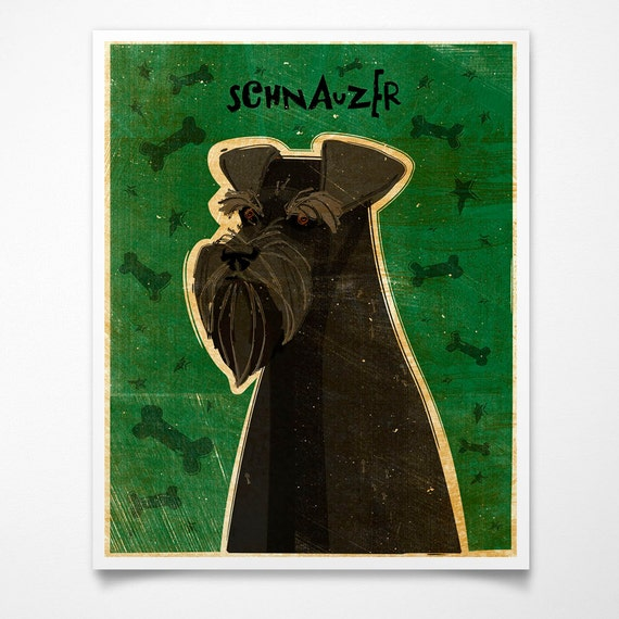 Schnauzer Print- Black- 8 x 10- Dog Wall Decor- Schnauzer Art- Dog Print- Schnauzer Gifts for Husband- Gifts for Pet Lovers
